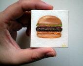 Original Mini Cheeseburger No 2 Pocket Art Oil Painting 2x2
