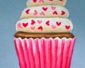 Original Vanilla Cupcake Love Colored Pencil Drawing 4x5