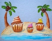 Original FRAMED Cupcakes in Paradise Mini Colored Pencil Drawing ACEO