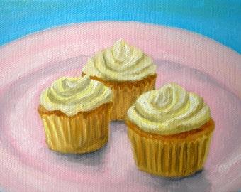 Original Banana Cream Cupcakes Oil Painting 5x7