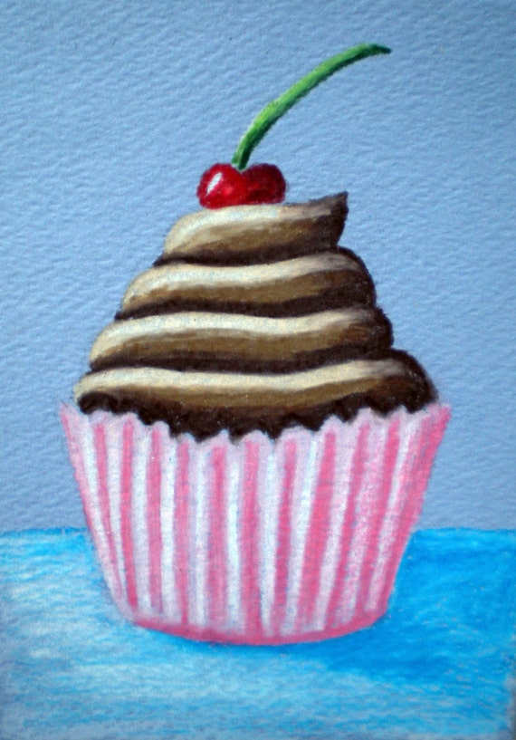 Original Framed Fudge Delight Cupcake Mini Colored Pencil Drawing ACEO