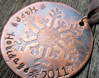 Rustic Copper Snowflake Christmas Ornament