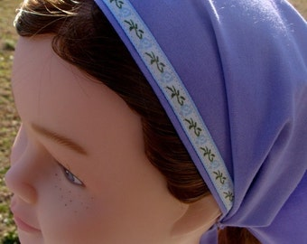 SALE Childrens Veil Headcovering - Modest Lavender with Blue Floral Ribbon - Bandana Girls Headscarf
