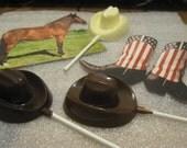 One dozen cowboy hat lollipop sucker party favor