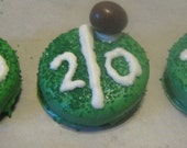 One dozen football yardlines with peanut candy football chocolate covered sandwich cookies