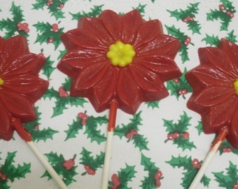 Set of 3 Large Poinsettia Lollipops
