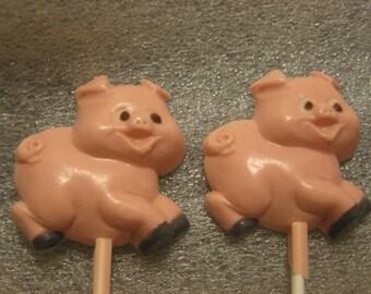 One dozen adorable running pig lollipop suckers