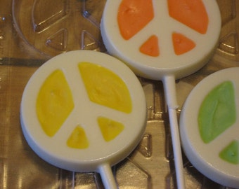 One dozen peace sign lollipops