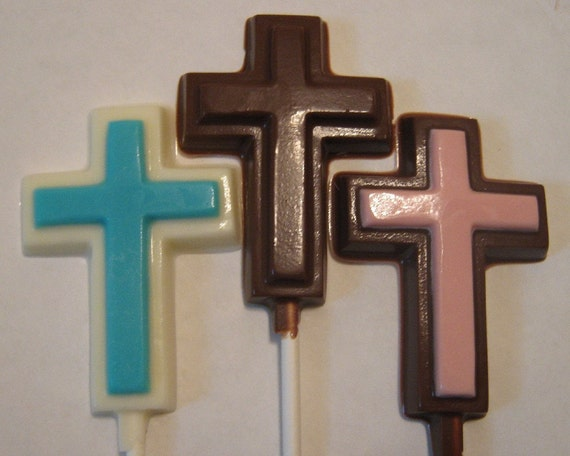 One dozen cross lollipops