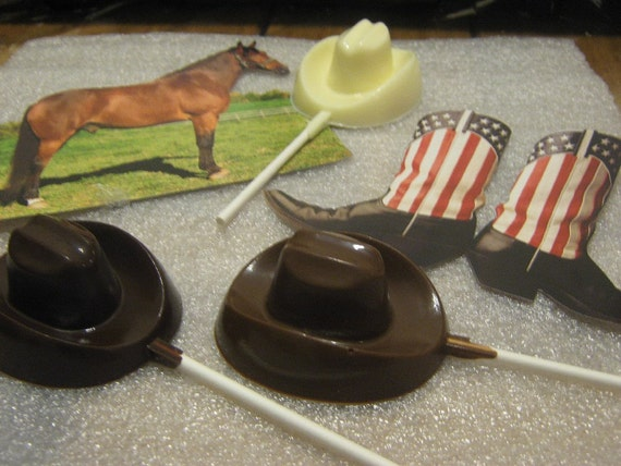 One dozen cowboy hat lollipop sucker party favor