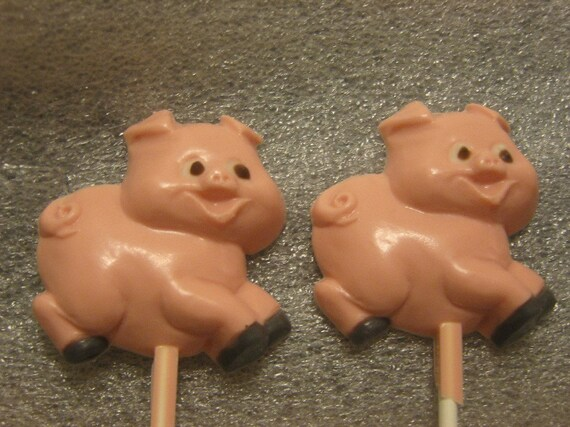 One dozen adorable running pig lollipop suckers