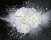 Rose Feathers Pearls Hair Fascinator, Bridal Hair Accessories, Hair Fascinator, Party, Prom, Wedding Hair Accessorie