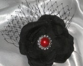 Black Rose French Netting, Hair Facinator, Hair Accessories, Gothic Bridal Hair Accessories, Weddings Gothic