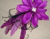 Purple, Feathers and Rhinestones Hair Fascinator, Bridal Hair Accessories, Hair Fascinator, Bridesmaids, Prom