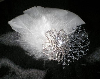 Bridal Hair Fascinator, Wedding Hair Accessories, Feathered Hair Fascinator, Hair Fascinator