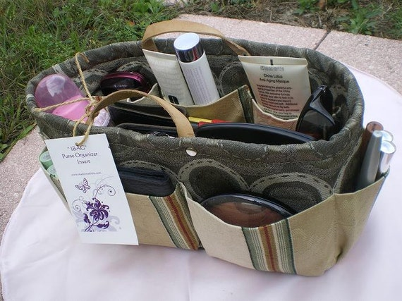 "purse organizer insert /Shaper  / Extra Sturdy/ rectangular  11 ""L 5""W 6""H patchwork  Gray circle"