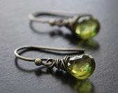 Oxidized Sterling Silver Peridot Earrings - wrapped