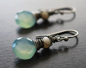 Aqua Blue Chalcedony Oxidized Sterling Silver Earrings - isabelle