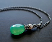 Necklace Pendant Mint Green Chalcedony Freshwater Pearl Oxidized Sterling Silver - isabelle