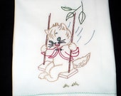 Kitten Swinging in the Breeze Dish Towel