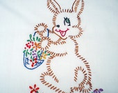 Bunny with Basket of Flowers Dish Towel