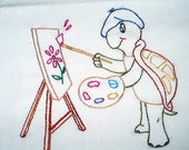 Rembrandt Turtle Painting a Picture Embroidered Dish Towel