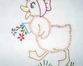 Mrs. Duck with Pot of Flowers Embroidered Dish Towel