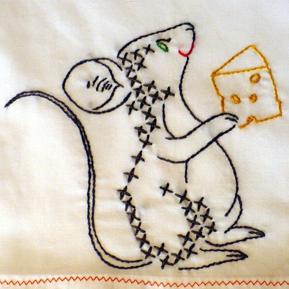 Mouse Eating Cheese Embroidered Dish Towel