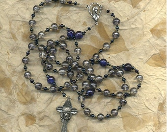 Catholic, Five Decade Marble Swirl Glass Rosary