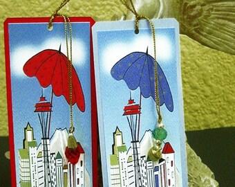 Seattle Bookmark ,handmade greeting