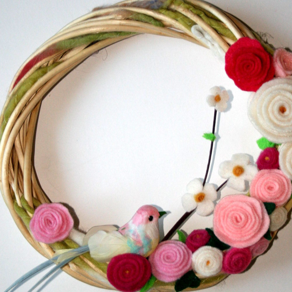 Wreath door decoration handmade felt fleece flowers by jbart for Handmade things for decoration