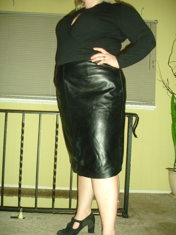 Vintage Black Leather Plus Size Pencil Skirt 18 20 Xl Xxl 2xl