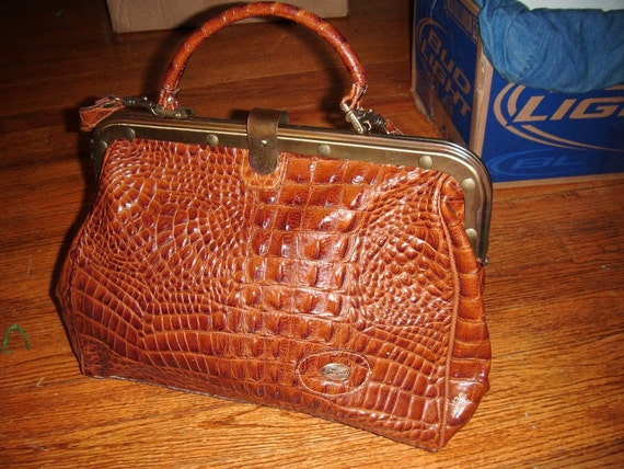 Vintage Sorpresa Italy leather croc purse bag large