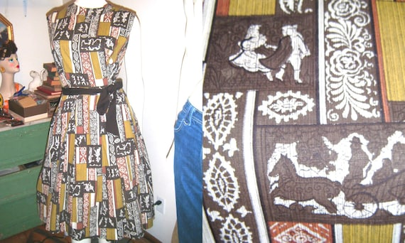 1950s Novelty Dress Horse and Carriage plus size 12 14
