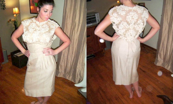 Vintage Werle Beverly-Hills Couture Champagne-Creme Sheer and Applique-Lace  Illusion Bombshell  Pencil Garden Wedding Formal Evening Dress