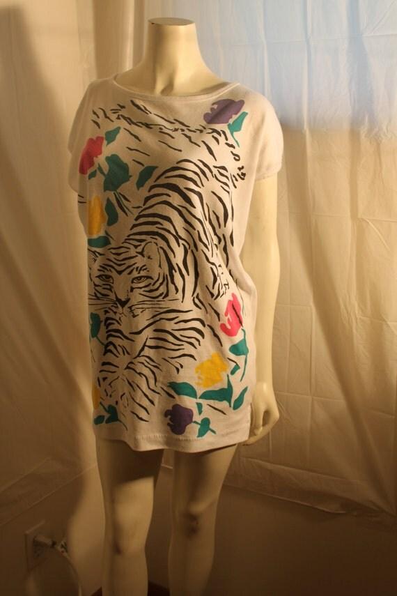 Vintage 1980s Tiger Tee Shirt Tunic Blouse size large xl Plus size