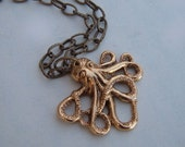 Baby Octopus Necklace Gold Plated