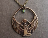 Egyptian Goddess Isis Necklace with Handmade  Dark Antique Brass Patina