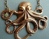 Octopus Necklace in Antique Gold with original vintage Swarovski rhinestone -  Made in the USA