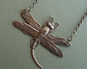 Dragonfly Necklace Antique Brass