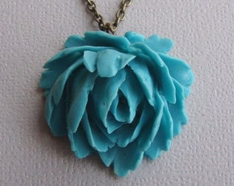 Rose Necklace in Turquoise