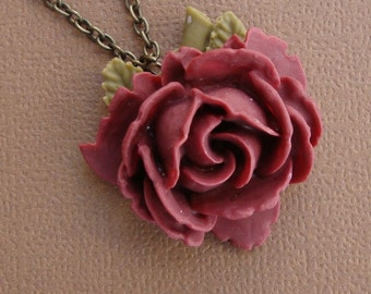 Rose Necklace in Dark Red
