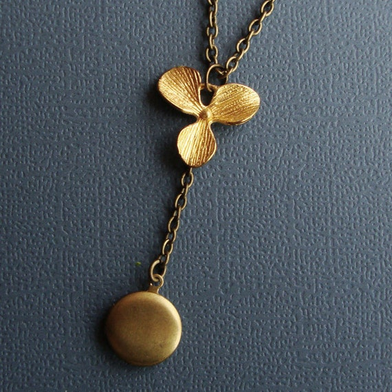 LOCKET  and Orchid Necklace - Vintage and Mod Jewelry Fusion