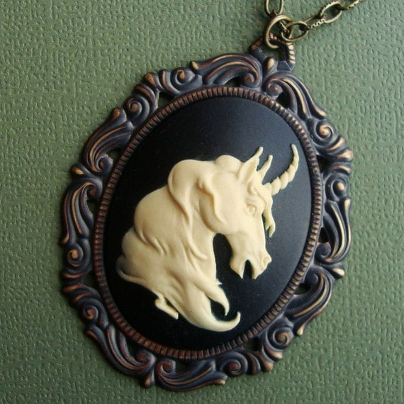 Unicorn a Victorian Cameo Necklace