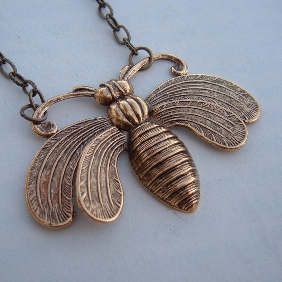 Bee Necklace Antique Brass By SimplyChacha On Etsy