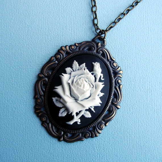 White Rose  Cameo  Victorian - Necklace