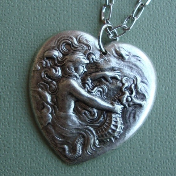 Nymph and  Seahorse Heart Necklace