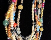"Multi Gemstone Beaded Necklace with Six Strands 30% OFF COUPON CODE ""savemoney"""
