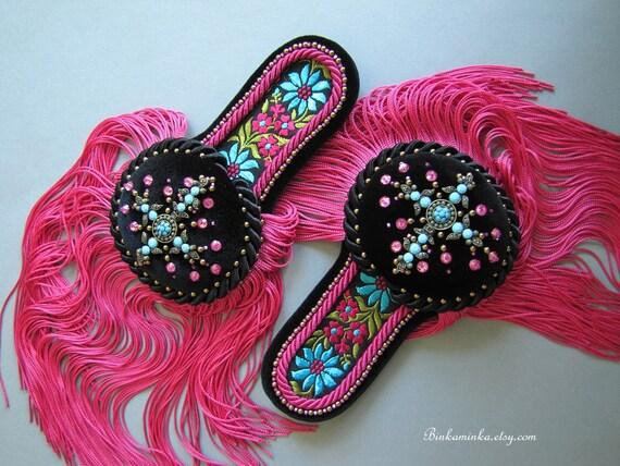 Epaulettes Black Pink Turquoise