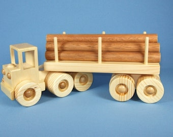 Handcrafted Wooden Toy Log Trailer